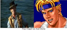"""Paul Hogan as Axel Stone. Why not? He was perfect as Michael J. Crocodile Dundee in """"Crocodile Dundee"""". I think he would have a made great Axel Stone in the Streets Of Rage movie. Crocodile Dundee, Beat Em Up, Michael J, Stone, Tv, Movies, Rock, Films, Film"""