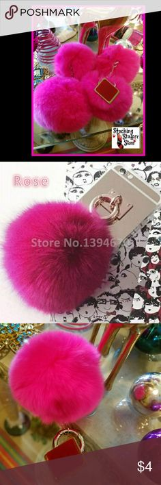 Pink Fur Ball Metal Accessories New, lovely and ready to ship  Only 4 Pink Fur balls available. No other colors.   Cute for that pink kinda doll in your life.   Remove the back red sticker and hood on to the back of your phone. Dies nor work with phones that have bling, or other accessories, only on the basic phone case.   STOP by my closet for more adorable stocking stuffers and bundle for an amazing discount. Accessories