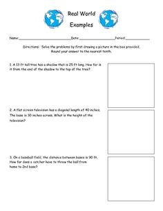 This page has three real world Pythagorean Theorem problems that wants to the students to dissect the problems and draw a picture of the situation,...