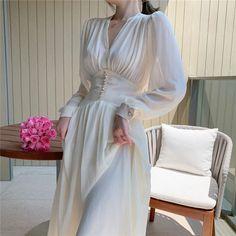 White Dress Summer, Summer Dress Outfits, Summer Dresses For Women, Long Midi Dress, Chiffon Dress, Club Dresses, Sexy Dresses, Elegant Dresses For Women, Sexy Party Dress