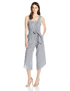 174f5c875118 Lucca Couture Womens SquareNeck Belted Cropped Jumpsuit Denim Stripes Small     You can get additional