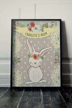 Cute bunny downloadable print. Perfect for a little girls room #affiliate