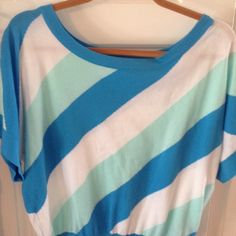 Adorable Lilly short sleeve dolman top Beautiful top with stripes of blue, mintish green and white... Has a scoop neck and bottom band is fitted... Really great top...worn once Lilly Pulitzer Tops