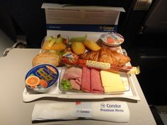 Another meal upgrade, this time on Condor Airlines. Passengers can upgrade their meal to the premium economy class menu options. What a great breakfast option to start your day!