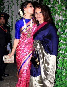 Jacqueline Fernandez with mom Kim at the Bachchans' grand Diwali bash. #Bollywood #Fashion #Style #Beauty #Hot #Sexy #Saree