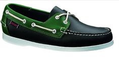 Sebago Men's Spinnaker Boat Shoes - Navy/ Green 6.5 - Wide Genuine moccasin construction. Functional rawhide lacing system. Full-length molded-EVA footbed. Molded-rubber non-slip sole. Two-eye lacing.  #Sebago #Shoes