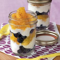 22 Healthy Lunch Ideas | Blueberry-Orange Parfaits - I love this packaging idea. Could be layered salad?