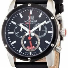 Mondaine Men's Sport II Watch: Chrono Alarm, Leather Band, Black Face