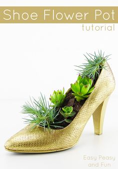 Shoe Flower Pot - Shoe Crafts - Easy Peasy and Fun