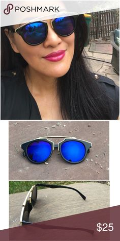 Top Bar Gold Trim Blue Reflector Sunglasses Fun statement sunnies! These have been restocked, get them while you can! No UV indication.  Ask ALL questions before buying, sales are final. I try to describe the items I sell as accurately as I can but if I missed something, please LMK FIRST so we can resolve it before you leave < 5rating.   TRADES/OFFLINE TRANSACTIONS  LOWBALLING (Please consider the 20% PM fee) ✅Use OFFER BUTTON please  100% Authentic items   &  Free home Mile High Fashions…