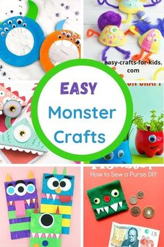 Monster Crafts for Kids - perfect for Halloween or anytime of the year! Suitable crafts for preschool and older kids. Halloween Crafts for Kids Scary Halloween Crafts, Halloween Crafts For Kids To Make, Easy Crafts For Kids, Craft Activities For Kids, Easy Diy Crafts, Cute Crafts, Art For Kids, Halloween Art Projects, Paper Crafts For Kids