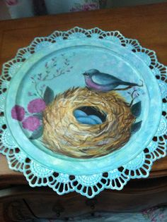 Lacy Serving Tray Hand Painted With With Birds Nest, Bird and Flowers  $22.99