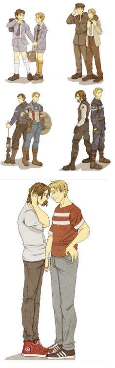 Steve and Bucky through the years