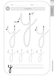 la lettre y au CP:FICHES d'ECRITURE. Modèles d'écriture