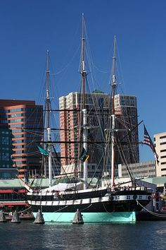 """USS Constellation - Baltimore, MD - Commissioned in 1855, the U.S.S. Constellation was the last all-sail ship built by the United States Navy. Today the historic vessel lies """"at anchor"""" (nautical term - actually the Constellation is tied up to a pier) in Baltimore's Inner Harbor, where visitors can climb aboard and get a firsthand look at what the sailors life was like in days past."""