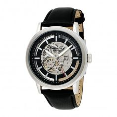 Kenneth Cole KC1631 Leather Strap Automatic Skeleton Watch For Men