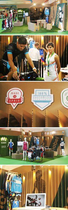cardboard booth design for Mobel Sports . Produced by Cartonlab and graphic design by Rubio y Del Amo | diseño de stand en cartón para la marca deportiva Mobel Sports http://cartonlab.com/proyecto/stand-carton-mobel-sport/