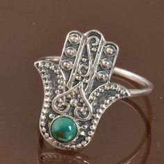 925 SOLID STERLING SILVER FANCY Turquoise RING JEWELLERY 3.41g DJR10060 SZ-8…