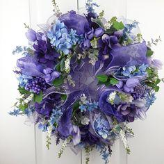 Spring Front Door Wreath, Spring Indoor Wreath, Purple Front Door Wreath, Spring Wreath with Tulips, Gift for Mom, Housewarming Gift by YouandYourFrontDoor on Etsy