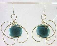 Natural Turquoise Earrings hand sculpted in the finest Jeweler's Silver enameled Copper. Measures about 1 1/2 in. length and 1/2 in. width. Custom Design Setting: Silver Enameled Copper ( French Hooks