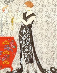 Evening Dress by Beer,c.1920 by Georges Barbier