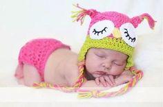 coruja touca e tapa fralda crochê ensaio newborn foto bebê
