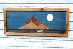 moon over island, repurposed wood art, rustic decor, reclaimed wood art, upcycled wood art, primitiv