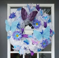 Spring Butterfly mesh wreath by Cindy