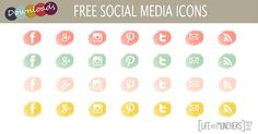 Free Social Media Icons #2 has arrived!  I love learning more about blogging everyday.  I'm a great believer in pay it forward, so I also love to share what I make with you lovely lot. Pastel colou...