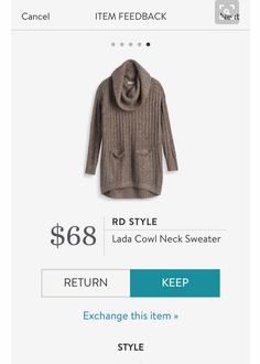 Stitch Fix December 2016 - RD Style Lada Cowl Neck Sweater; This sweater is lighter in color than it appears; stitchfix.com/referral/6092547