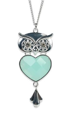 Deb Shops #mint colored stone heart #owl #necklace on long chain