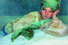 Zamyslené Ležiace Dievča s Turbanom by Alfons Mucha