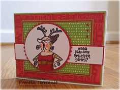 airbornewife's stamping spot: Wanna Play Some Reindeer Games? card card using Art Impression ~ Hampton Art