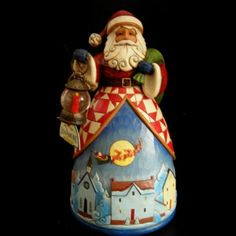 NIB 4025489 Jim Shore Christmas Santa with Night Village Scene