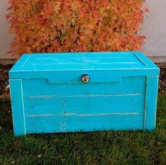 Turquoise Frame Top Hope Chest / Toy Chest by CrateandPallet