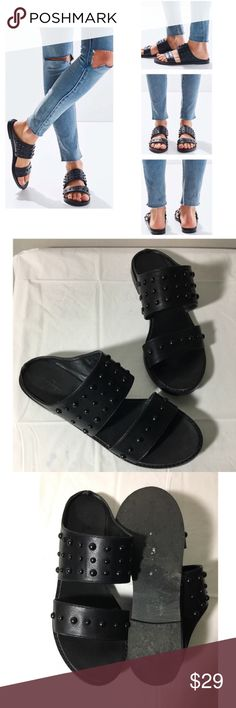 Urban Outfitters black studded sandal slides 8 Love these but I've got too many pairs of black sandals. Worn only twice. Excellent pre-loved condition, no flaws noted. Vegan leather. Fits true to size and very comfy. Urban Outfitters Shoes Sandals