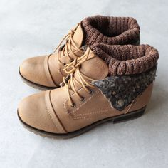 cozy womens sweater boots - tan - shophearts - 1