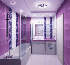Ванная комната в фиолетовых тонах в современном стиле. #дизайн_ванной #стеклянные_ограждения_в_ванну #пенал_в_ванну #накладная_раковина #фиолетовая_ванная_комната #плитка_в_ванную #сантехника_для_ванны