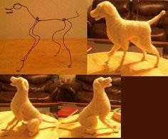 The start of a black Labrador Retriever wooliture bendy wool sculpture