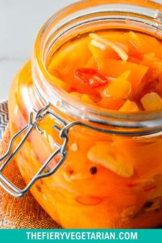 This spicy pumpkin refrigerator pickle comes together in just under 30 minutes to delight your tastebuds with its tangy spicy quick pickled pumpkin goodness! One of the easiest pumpkin recipes you'll ever make this fall, gluten-free savory spicy goodness you won't believe is made with fresh pumpkin, is low-calorie and contains NO oil. Have it today and customize to your tastes, with ginger as a great side to coconut rice and Asian dishes, or without to pair with creamy cheeses. Spicy Vegetarian Recipes, Vegetarian Side Dishes, Vegetarian Appetizers, Vegan Main Dishes, Vegan Dinner Recipes, Vegan Recipes Easy, Vegan Pumpkin Bread, Eating Vegetables, Coconut Rice