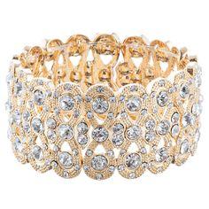 Bridal Wedding Jewelry Crystal Rhinestone Sparkle Stretch Bracelet B514 Gold
