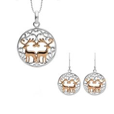 Sterling Silver Rose Gold Round Pierced Reindeer Two Piece Set A perfect gift for a loved one, this beautiful gift set features a cut out reindeer design crafted from sterling silver, with rose gold plated detail. Comprising of a pair of hook earrings, and necklace, complete with an 18 inch sterling silver chain. All items can be sold separately. All our silver jewellery is designed and crafted within our very own workshop, where a team of skilled craftsmen transform the natural silver into… Silver Jewellery, Fine Jewelry, Christmas Gift Sets, Two Piece Sets, Silver Roses, Rose Gold Plates, Sterling Silver Chains, Reindeer, Workshop