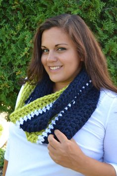 Seahawks Scarf- Crochet Seahawks Infinity Scarf
