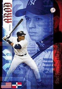 """A classic poster of Alex """"A-Rod"""" Rodriguez of the New York Yankees MLB Baseball Team! Need Poster Mounts. Yankees News, New York Yankees, Allen Iverson, Seattle Mariners, Texas Rangers, Mlb, Baseball Cards, Sports Posters, Life"""