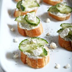 Toasted baguettes dressed with a Feta/Greek yogurt/dill sauce and topped with fresh cucumber are the perfect appetizer.