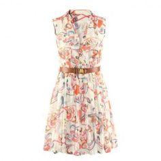 $12.52 Ladylike V-Neck Printed Sleeveless Chiffon Dress Without Belt For Women
