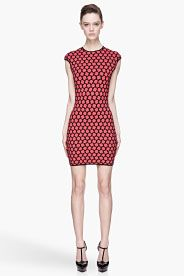 ALEXANDER MCQUEEN Red and black Knit Honeycomb jacquard Dress