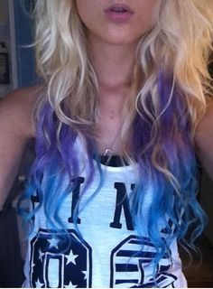 purple to blue..I don't know how that'd look on a brunette but I love it