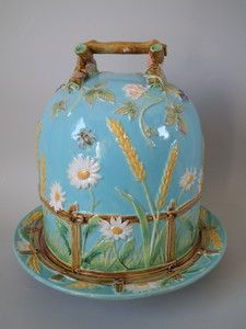 George Jones Majolica picket fence daisy cheese dome  Victorian, circa 1870