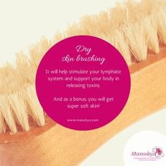 When we dry skin brush, we are massaging and helping our lymphatic system cleanse itself.  We pull waste from the body as well as remove any lingering toxins from soap, environmental factors, lotions, deodorant, and other things to help improve skin health... Dry Brushing Skin, Dry Skin, Environmental Factors, Lymphatic System, Skin So Soft, Lotions, Deodorant, Cleanse, How To Remove
